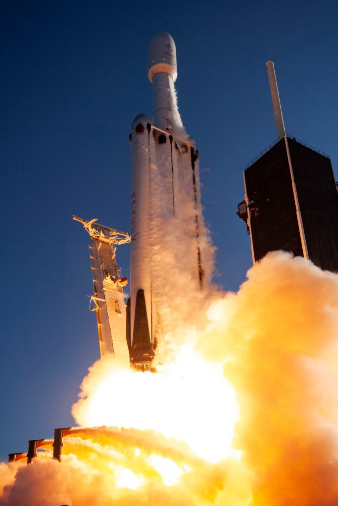 SpaceX Falcon Heavy Rocket takes flight.