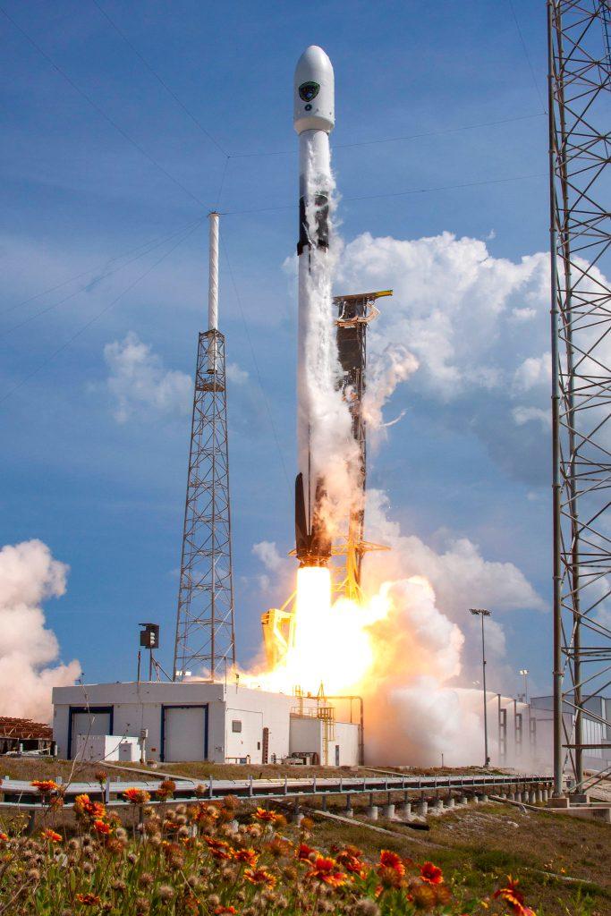 SpaceX Falcon 9 Rocket takes flight.