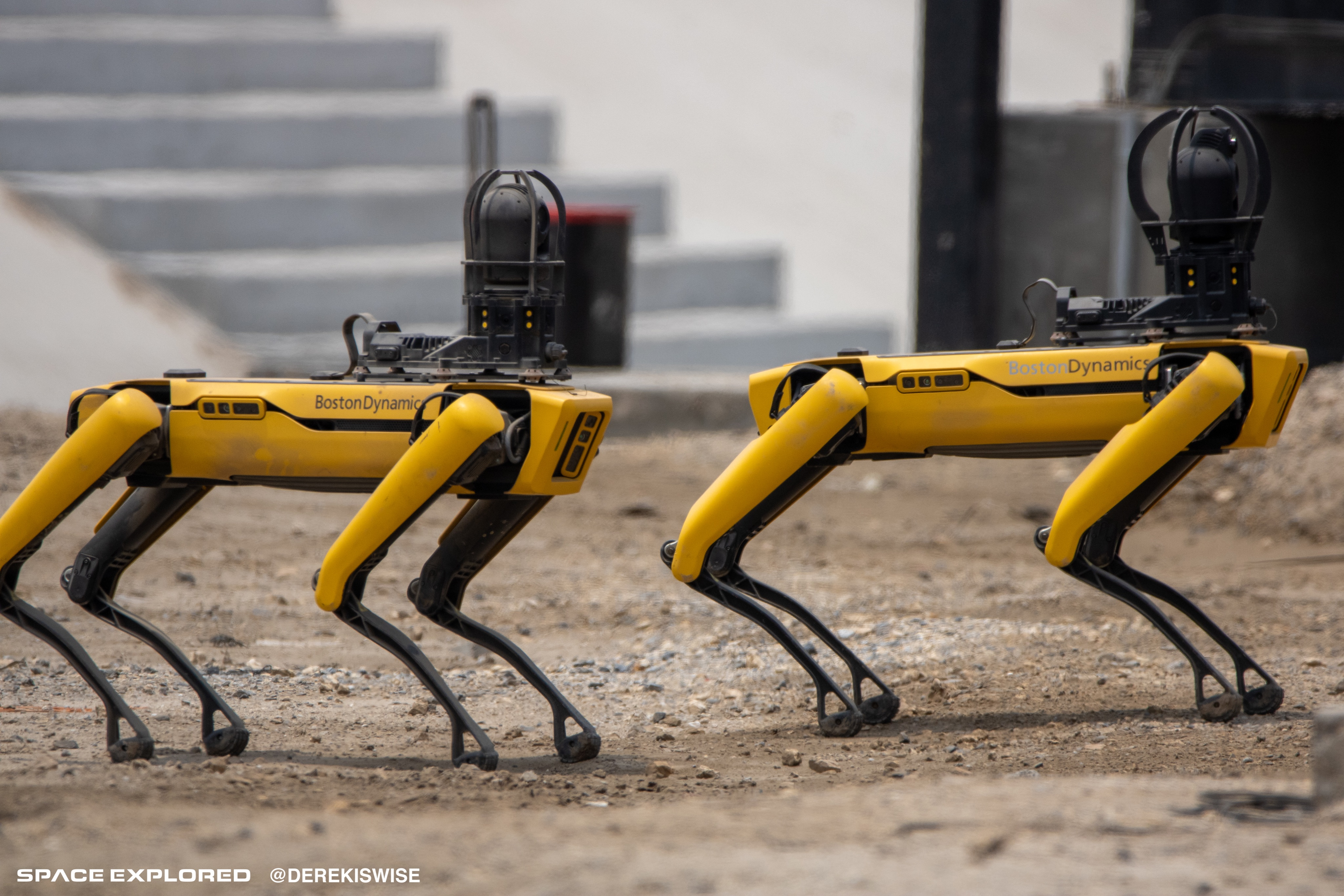 Boston Dynamics Spot robots at spaceX facility in Texas