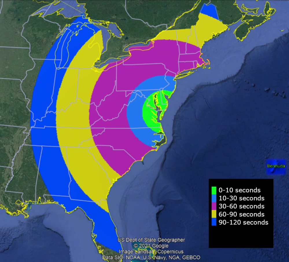 Launch visibility map created by NASA for the May 7th KiNET-X Launch