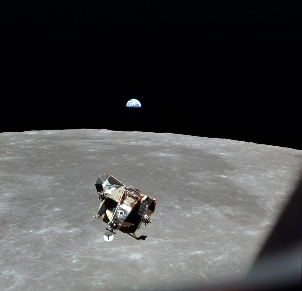 Apollo 11 ascent stage approaches command module.