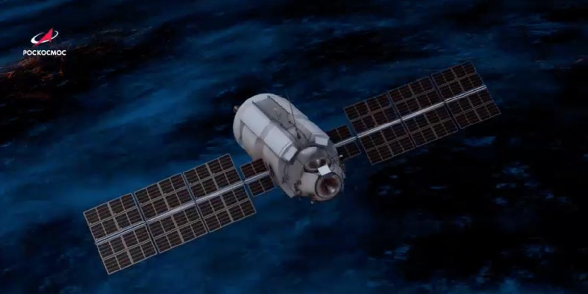 Russian Nauka module in orbit, render.