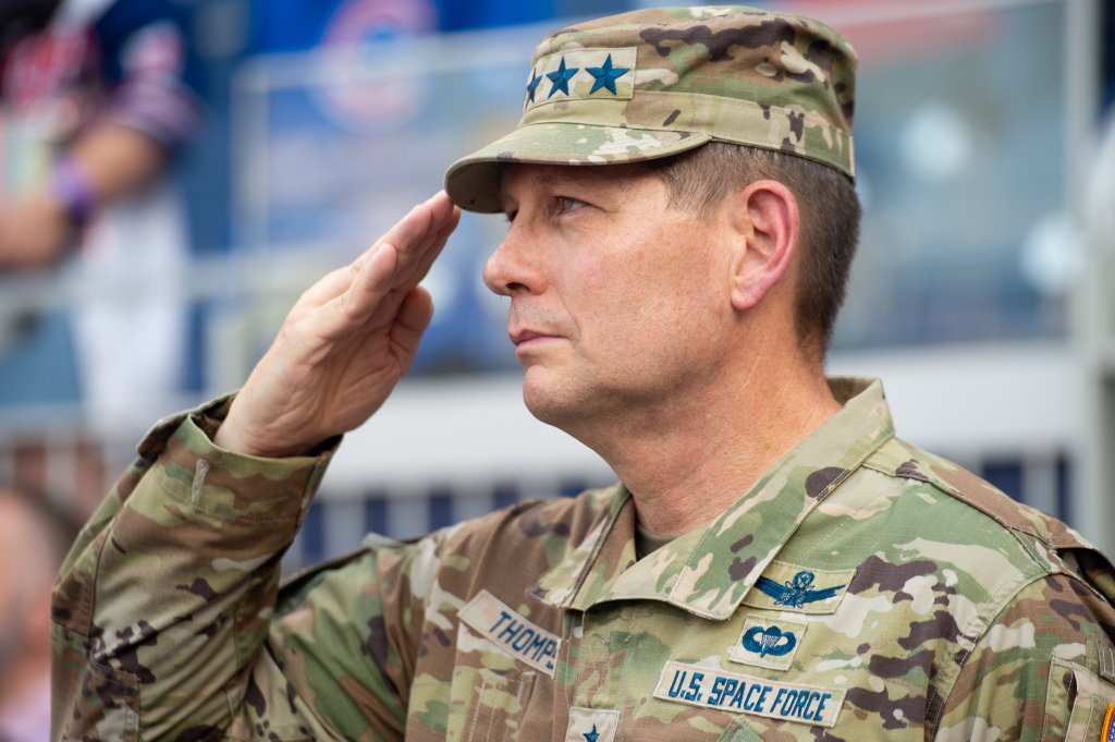 Space Force General David Thompson salutes