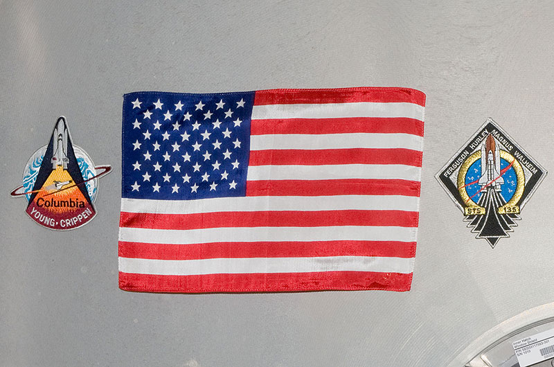 nasa sts-1 flag on iss