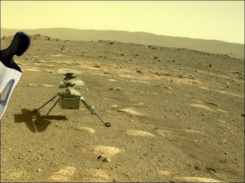 Tesla bot on Mars with Ingenuity