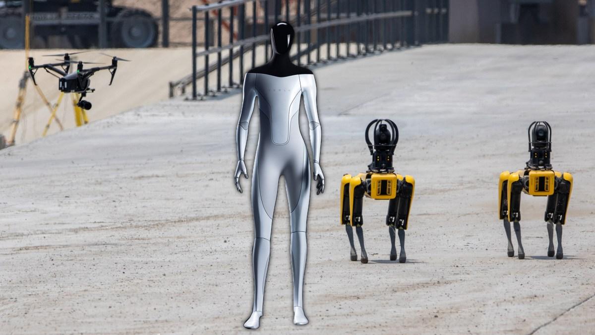 Tesla Bot at Starbase with Boston Dynamics Spot