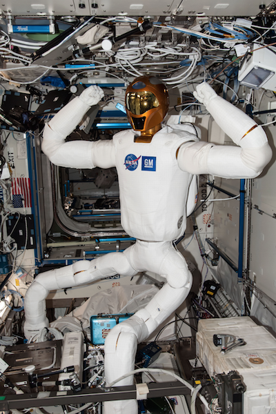 Robonaut2 climbing in the International Space Station.