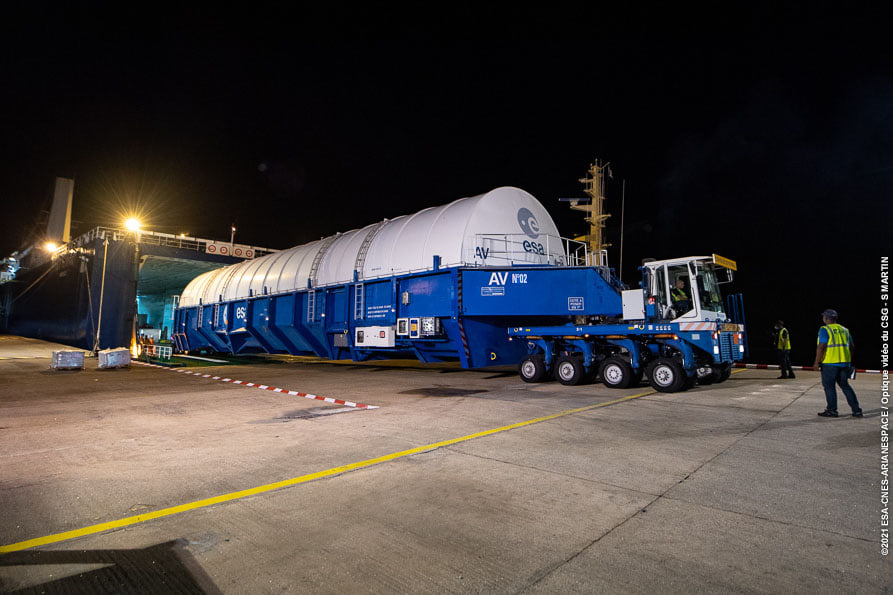 Ariane 5 upper stage being offloaded in French Guiana for James Webb Space Telescope launch.