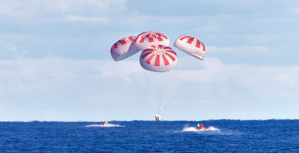 Crew Dragon splashdown in the Atlantic Ocean.