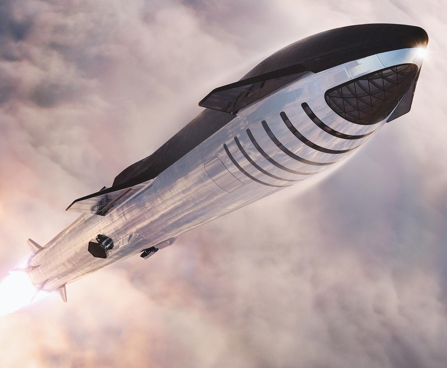 Original Space render of Starship in flight.