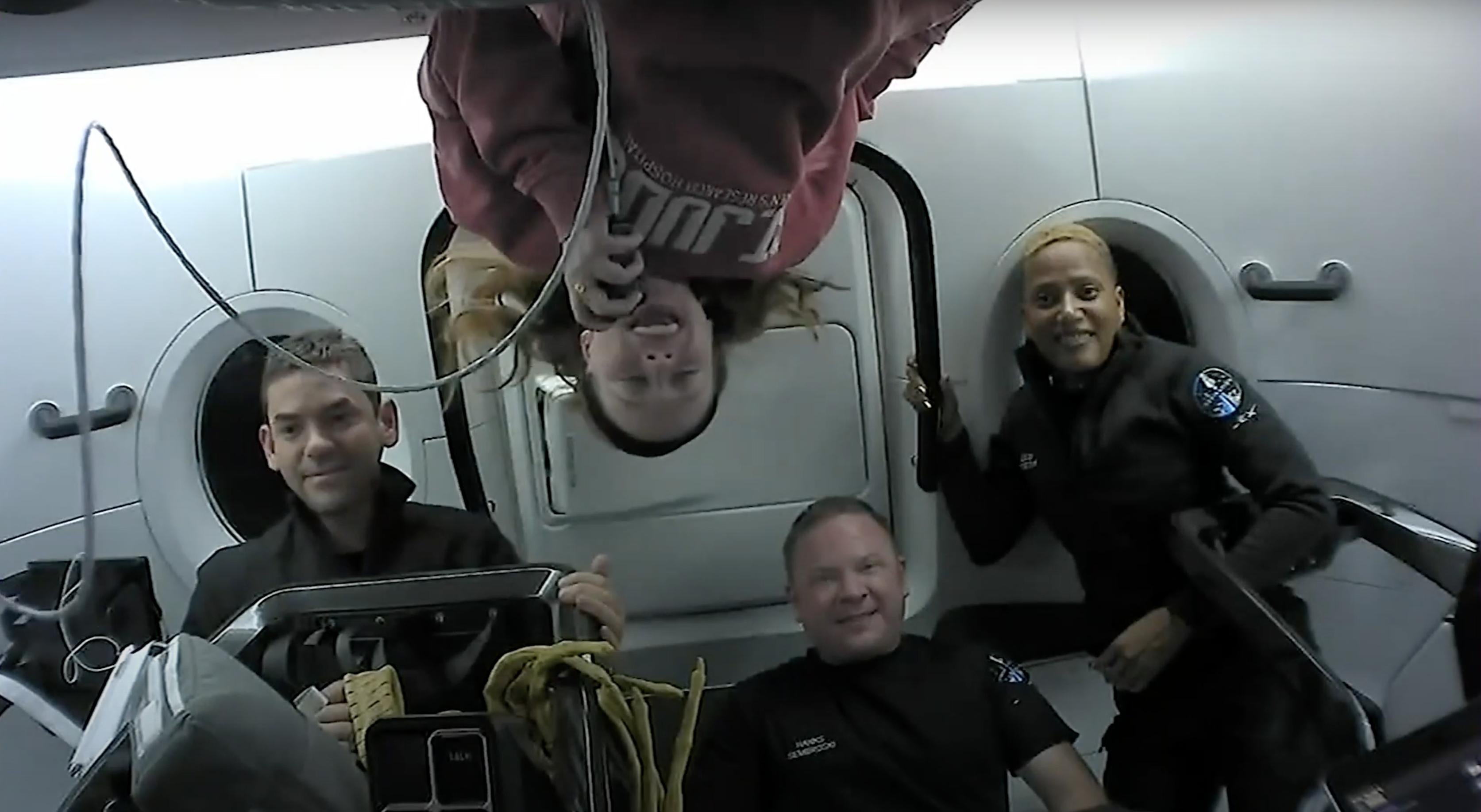 Inspiration4 Crew in orbit speaking with St. Jude patients.