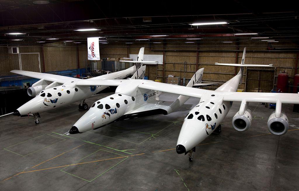 virgin galactic spaceship two in hanger